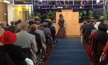 Millicent at 60th Anniversary Service for the New Testament Church of God, UK. Sept 2013
