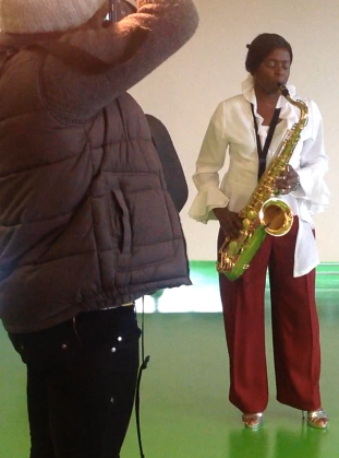 Millicent being snapped at Black History Month event, Sandwell 251013