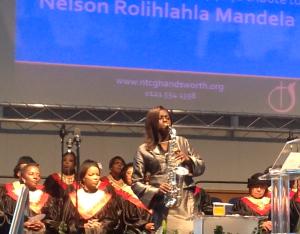 Millicent at Nelson Mandela Memorial Service NTCG Handsworth 081213