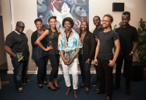 'Not Just Jazz' Band: David (bass), Natasha (Contralto), Taleisha (Alto), Millicent (Sax), Marcia (Soprano), Noval (Keys), Reuben (Guitar), Corey (Drums)