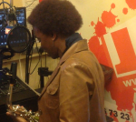Millicent getting ready at Jam Radio